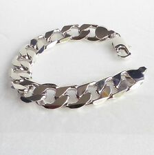 Men's White Gold Plated 19cm wide Chunky Hippo Heavy Classic Lobster Bracelet
