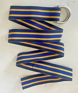 Vintage POLO RALPH LAUREN Mens Striped Ribbon Belt D Ring Buckle USA