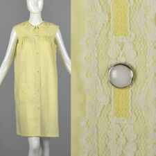 M 1960s Yellow House Dress Sleeveless Lace Trim Snap Front Lounge Sleepwear 60s