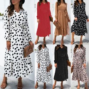 Women Long Sleeve V Neck Smocked Maxi Dress Ladies Polka Dot Belted Shirt Dress