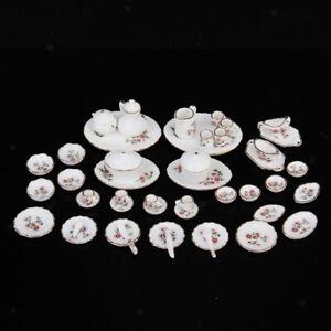 50pcs New Dollhouse Miniature Dining Ware Flower Porcelain Tea Dishes Set