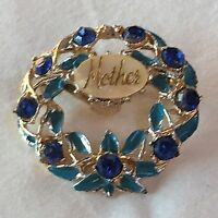Vintage Retro 1950s 1940s Mother Blue Glass Turquoise Cold Enamel Brooch Pin