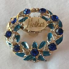 VINTAGE con madre 1950 S 1940 S Vetro Blu Turchese Spilla in smalto a freddo
