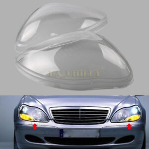 Pair Headlight Headlamp Clear Lens Cover For Benz W220 S600 S500 S320 S350 98-05