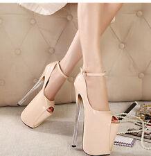Women Super High Heels Peep Toe Stilettos High Platform Ankle Strap Pumps shoes