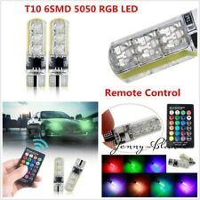 2X LED T10 Remote Control W5W 501 RGB Car Wedge Side Light Bulbs With Controller