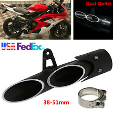 Aluminum Motorcycle Scooter Exhaust Pipe Dual-outlet Tail Pipe Slip on 38-51mm