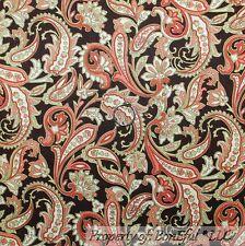BonEful Fabric FQ Cotton Quilt VTG Brown Cream Peach Green Flower Paisley S Leaf