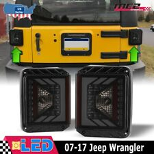 For 07-17 Jeep Wrangler JK LED Tail Lights Rear Lamps Replacement Black Smoke