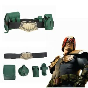 Judge Dredd Belt Leather Gun Bag Cosplay Costume Props 4 Pouches Movie Prop
