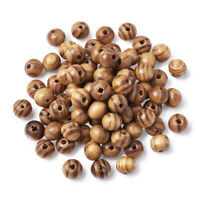 200PCS Wood Beads Lead Free Round BurlyWood 8mm Wooden Spacer Beads for Bracelet
