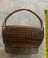 Antique Footed Hand Woven Basket Rare Piece! Indonesian Farmhouse Deco