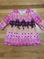 Hanna Andersson Pink Floral Top Shirt Tunic Ruffle Trim Sz 100 3-5 Yrs