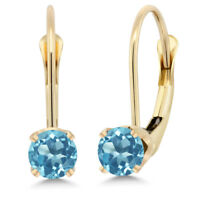 14K Yellow Gold Swiss Blue Topaz Leverback Earrings (0.66 Ct Round 4MM)