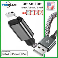 Braided Charger Cable For iPhone 6 7 8 iPhone X 11 12 3/6/10FT USB Charging Cord