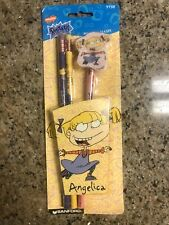 Nickelodeon Rugrats, Angelica Pencils & Eraser Set, 3 Pcs. Set, Vintage 1997