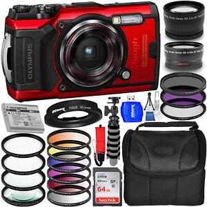 Olympus Tough TG-6 Digital Camera (Red) V104210RU000 + 64GB + Filter Kit Bundle