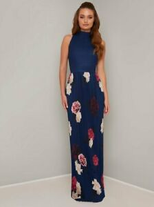 New Chi Chi London High Neck Floral Pleat Maxi Dress in Blue Size 12