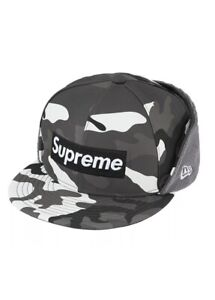 Supreme WINDSTOPPER Earflap Box Logo New Era Black Snow Camo 7 1/4