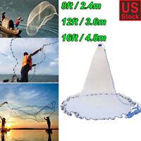 Hand Cast Fishing Net Spin Network Easy Throw Bait Nylon Mesh 8ft/12ft/16ft
