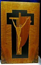 Intarsienbild Jesus am Kreuz 35x55cm  wertvolles Holzfurnier Kunst Unikat