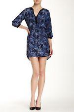 "NWT $275 Parker ""Mallory"" Rosette Navy 3/4 Length Sleeve Print Dress- XS!"