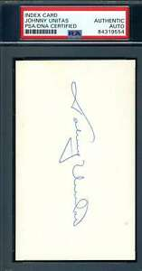 Johnny Unitas PSA DNA Coa Autograph Colts Signed 3x5 Index Card