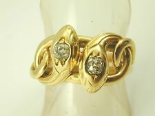 Antique French Victorian double Snake ring diamond 18ct gold 1880s size T 8.6g