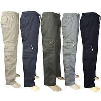 Hombre Elástico Pantalones Verano Cargo Militar ELEGANTE Ligero Trabajo