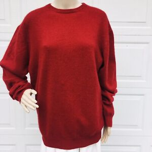 MINT!  Eileen Fisher L Large Red Cashmere  Sweater Pullover Top Crewneck Classic