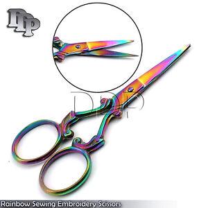 """Multi Titanium Color Rainbow Sewing Embroidery Scissors 3.5"""""""