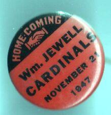 1947 pin Wm Jewell CARDINALS Home Coming hands shaking handshake pinback button