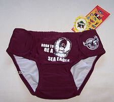 Manly Sea Eagles NRL Boys Maroon Swim Nappy Bathers Size 00 New