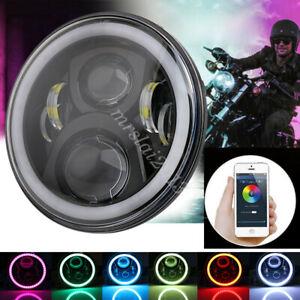 "7"" Round RGB LED Headlight Halo Ring Bluetooth App Control For Jeep Wrangler"