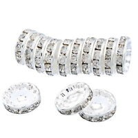 Wholesale Silver Plated Rondelle Spacer Beads CZ Crystal Elements 12mm