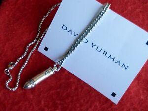 "DAVID YURMAN Edgy/Chic SSilver PAVE WHITE DIAMOND BULLET ""Rare"" 20"" Chain"