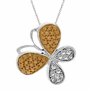 Round Yellow & White Natural Diamond Butterfly Pendant 925 Sterling Silver
