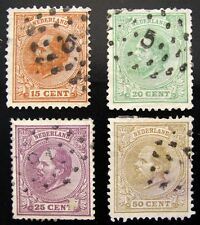TEN STAMPS FROM THE NETHERLANDS ISSUED BETWEEN 1872 & 1905 - ALL USED