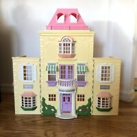 Vintage Fisher Price Loving Family Mansion Twin Time Dollhouse Yellow Fold Out