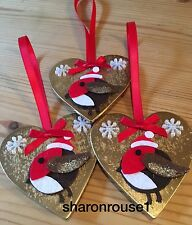 3 X Handmade Robin Christmas Hanging Decorations With Snowflakes Gold Red