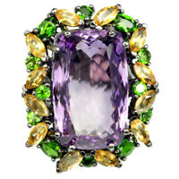 32.85CT REAL PURPLE AMETHYST CITRINE CHROME DIOPSIDE STERLING 925 SILVER RING 8