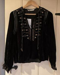Zara Black Embroidered Velvet Blouse Shirt Top XS BNWT