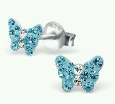 Girls 925 Sterling Silver Butterfly Stud Earrings with Aqua Blue Crystals Boxed