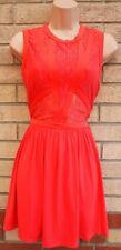 TOPSHOP ORANGE PEACHY RED LACE PANELLED SLEEVELESS SKATER PARTY A LINE DRESS 8