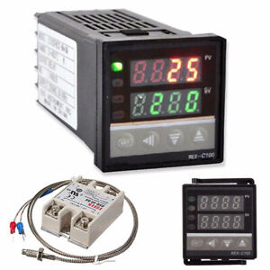 Digital LCD PID REX-C100 Temperature Controller Set +K Thermocouple +Max.40A SSR