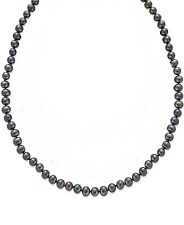 $300 MACYS WOMENS GENUINE FRESHWATER BLACK 7MM PEARL STERLING SILVER NECKLACE