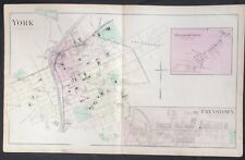 c1877 RARE MAP YORK Pennsylvania FREYSTOWN Pleasureville POSTER Peach Bottom RR