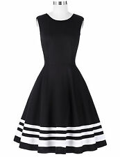 Housewife Vintage 1950s Cocktail Party Sleeveless Swing PINUP Flared Dress Black