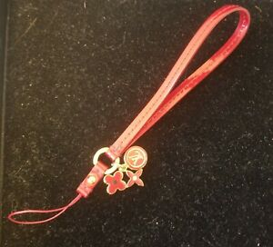 LOUIS VUITTON Red Patent Leather Mobile Phone Strap Flower Logo Charms New