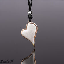Lagenlook Heart Pendant Necklace Ladies Rose Gold & Silver Black Cord Necklace